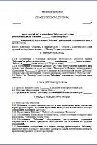 Форма трудового договора с работником образец.